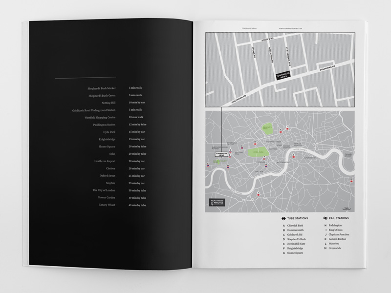 elegant brochure design townhouse location map